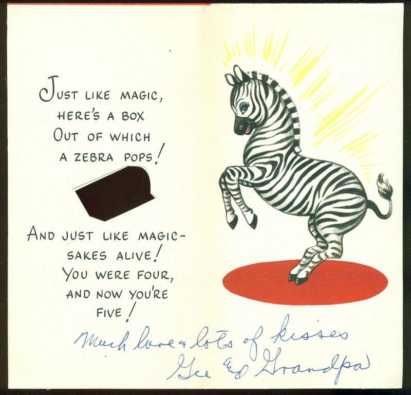 Vintage Birthday Greeting Card Boy Puppy Candy Zebra Happy Birthday