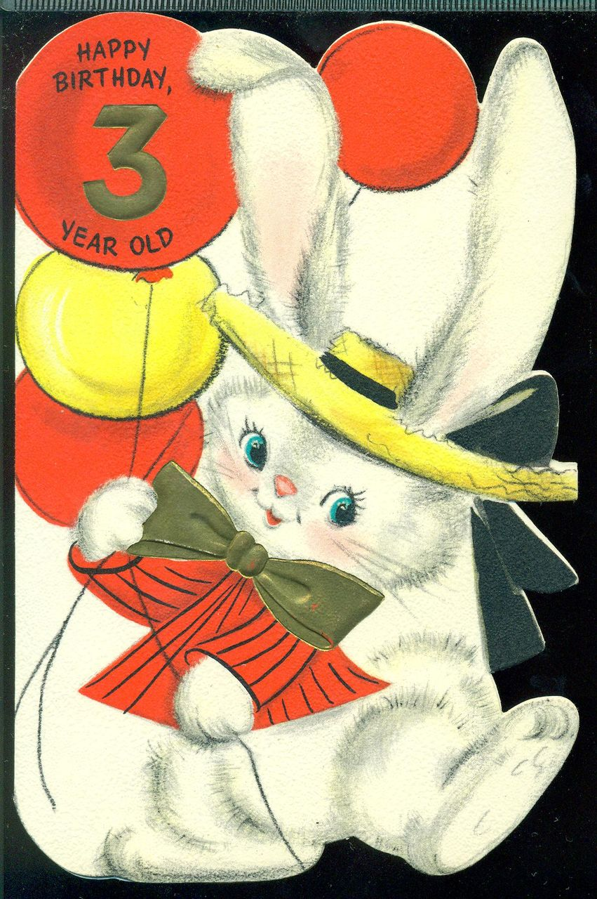 Vintage Hallmark Greeting Card HAPPY BIRTHDAY 3 YEAR OLD Dressed Bunny Balloons