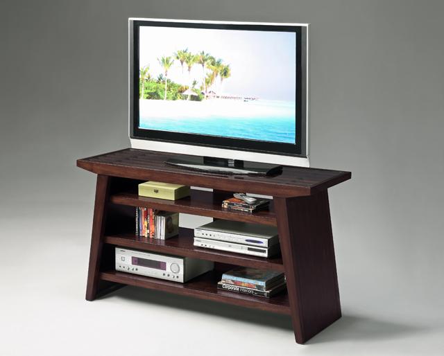32h Modern Design Wood Tv Stand Withtampered Glass Top Dark Brown