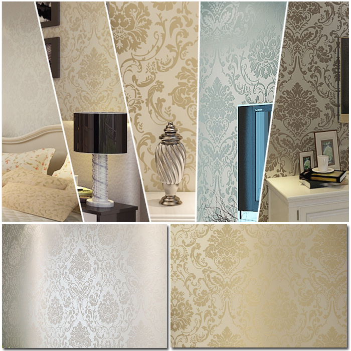 Damask Style Bedroom: 10M,Damask Pattern Style Flocking Non-Woven Wallpaper