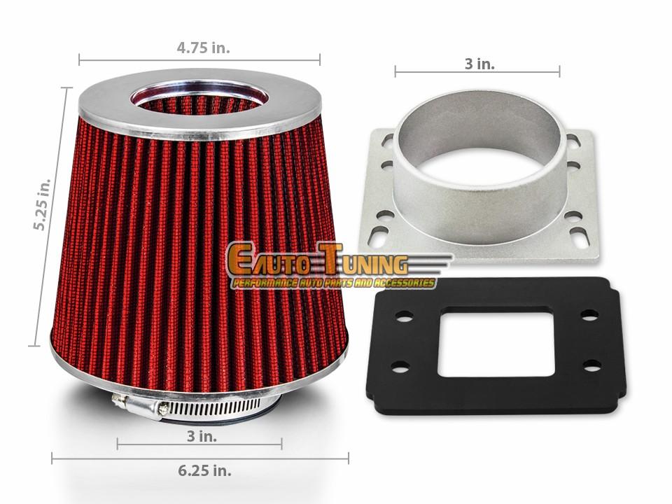 944S RED Filter For 83-91 Porsche 944 Mass Air Flow Sensor Intake Adapter
