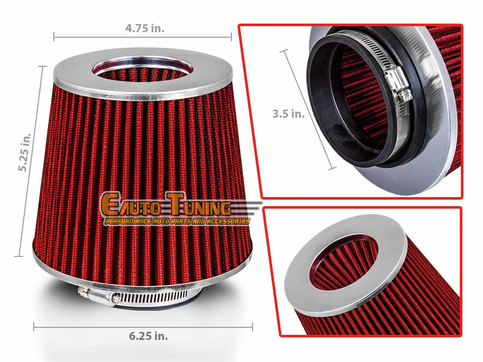 """3/"""" Cold Air Intake Dry Filter Universal RED For Airstream//Conquest//Crossfire"""