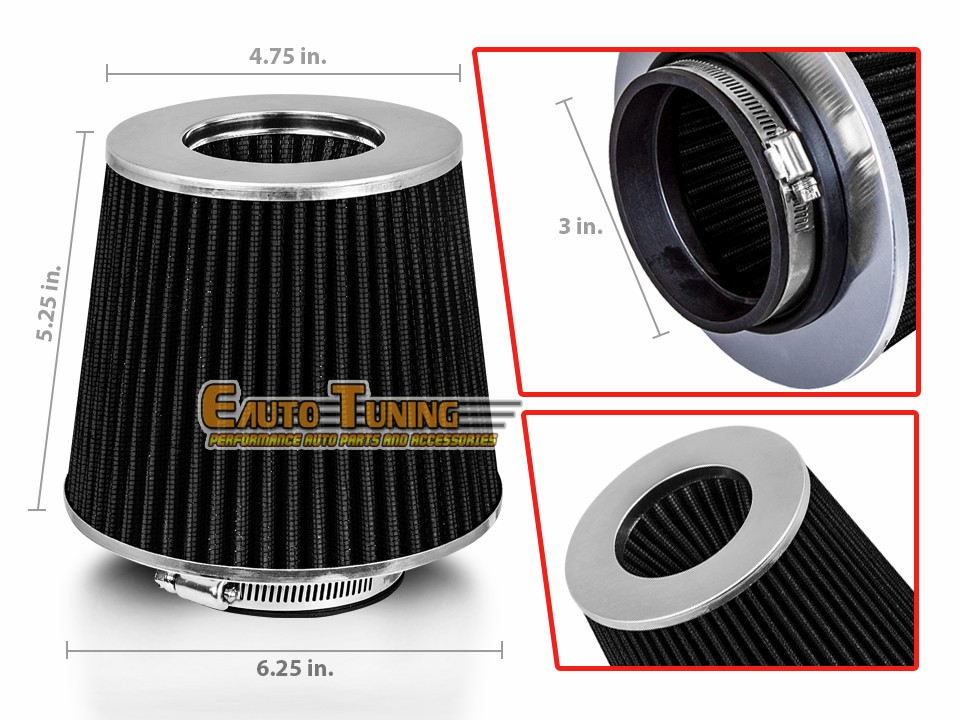 "3.5/"" Short Ram Cold Air Intake Filter Round//Cone Universal RED For Jeep 2"