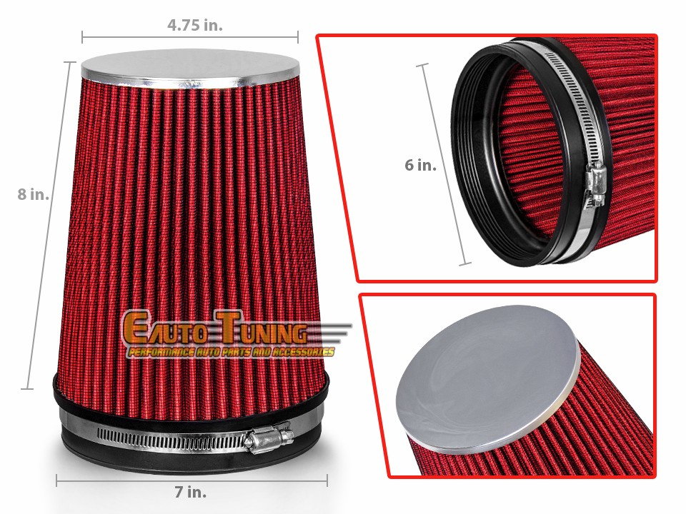 """RED 6 Inches 6/"""" Inlet 152.4mm Cold Air Intake Cone TRUCK FILTER MT"""