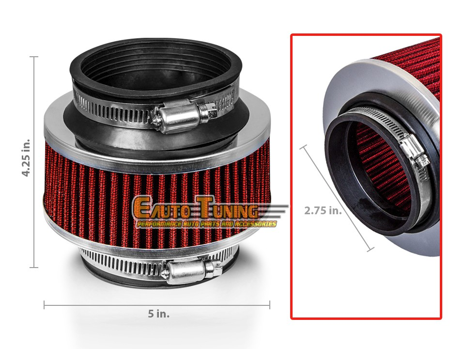 """2.75/"""" Cold Air Intake Dry Filter RED For Cherokee//Comanche//Commando//Compass"""