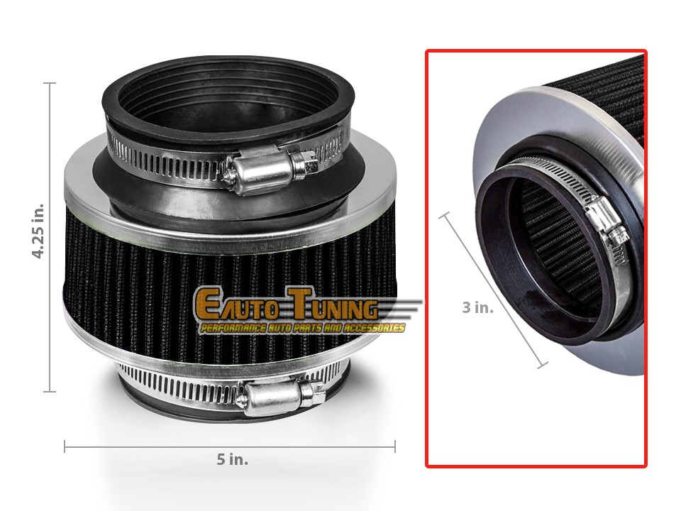 """3.5/"""" Cold Air Intake Dry Filter Universal BLACK For Geo Prizm//Spectrum//storm"""