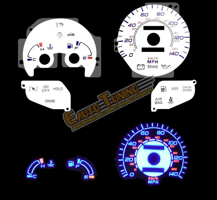 White Indiglo El Gauges Kit Glow BLUE Reverse for 96-00 Elantra w// Tach RPM