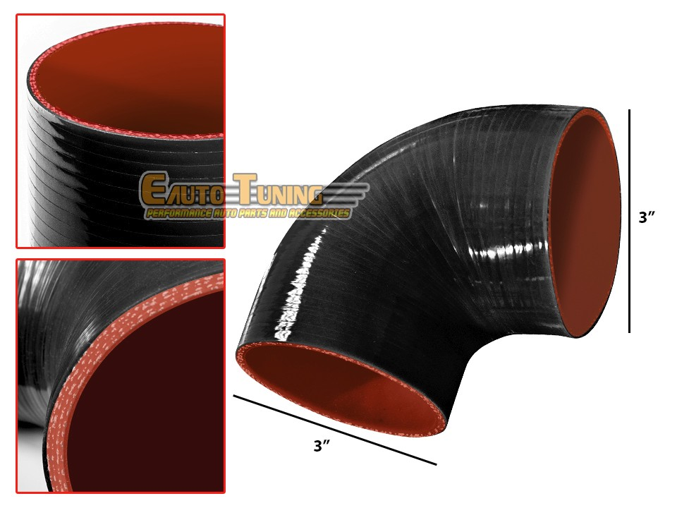 """3.5/"""" Silicone Hose//Intake//Intercooler Pipe Straight Coupler BLACK For Eagle//Geo"""