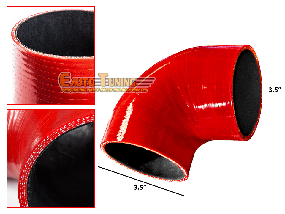 "RED 3.5/""-3.5/"" AIR INTAKE//PIPING RUBBER COUPLER FOR GMC"
