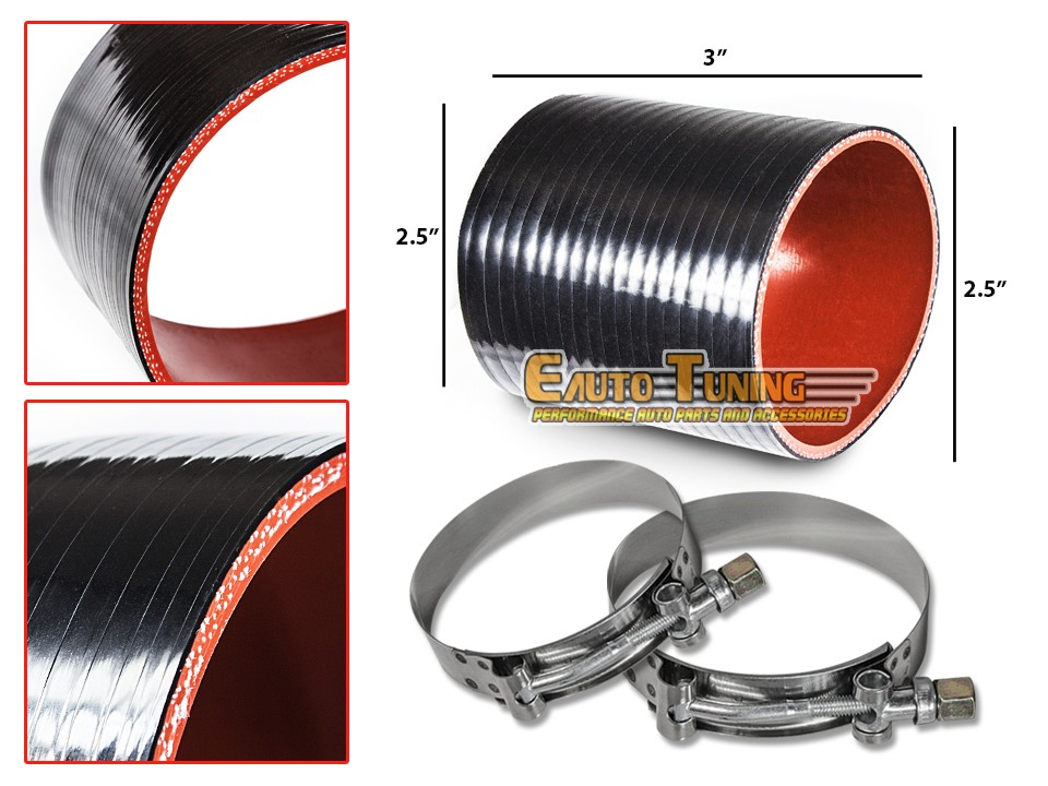"""T-Bolt Clamp For Nissan//Datsun 2.75/"""" To 2.5/"""" Silicone Pipe Hose Coupler RED"""
