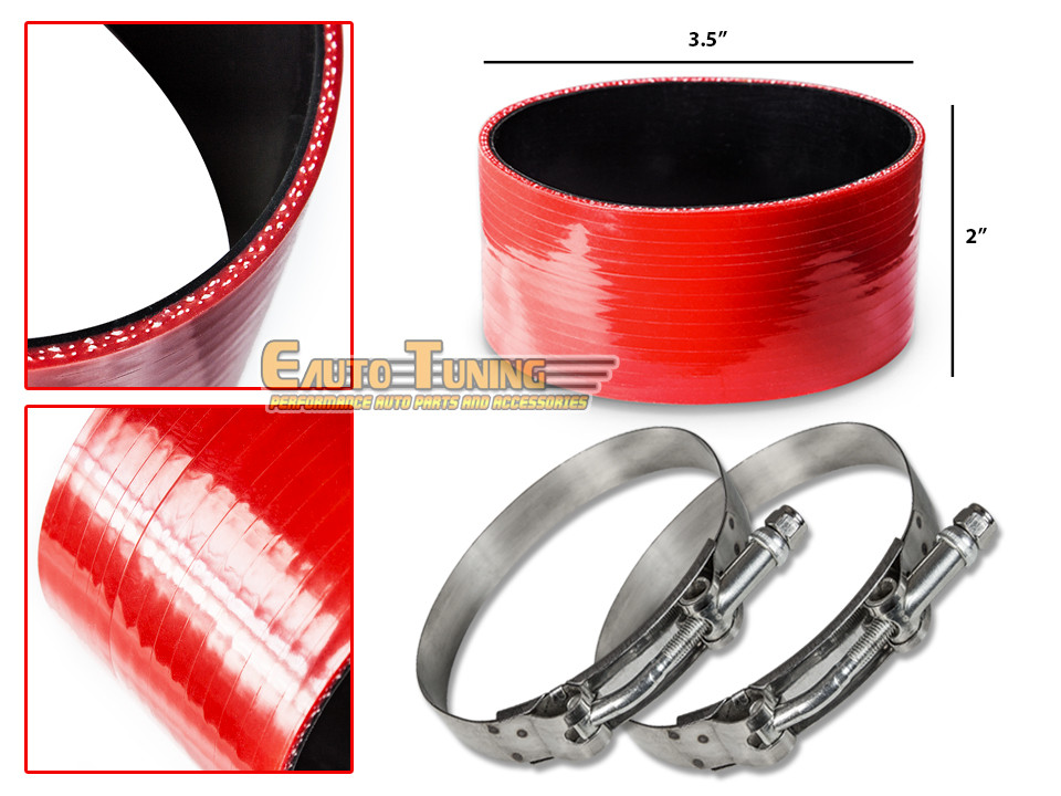 "3.5/"" Silicone Hose//Intercooler Pipe Straight Coupler RED T-Bolt Clamp For Audi"