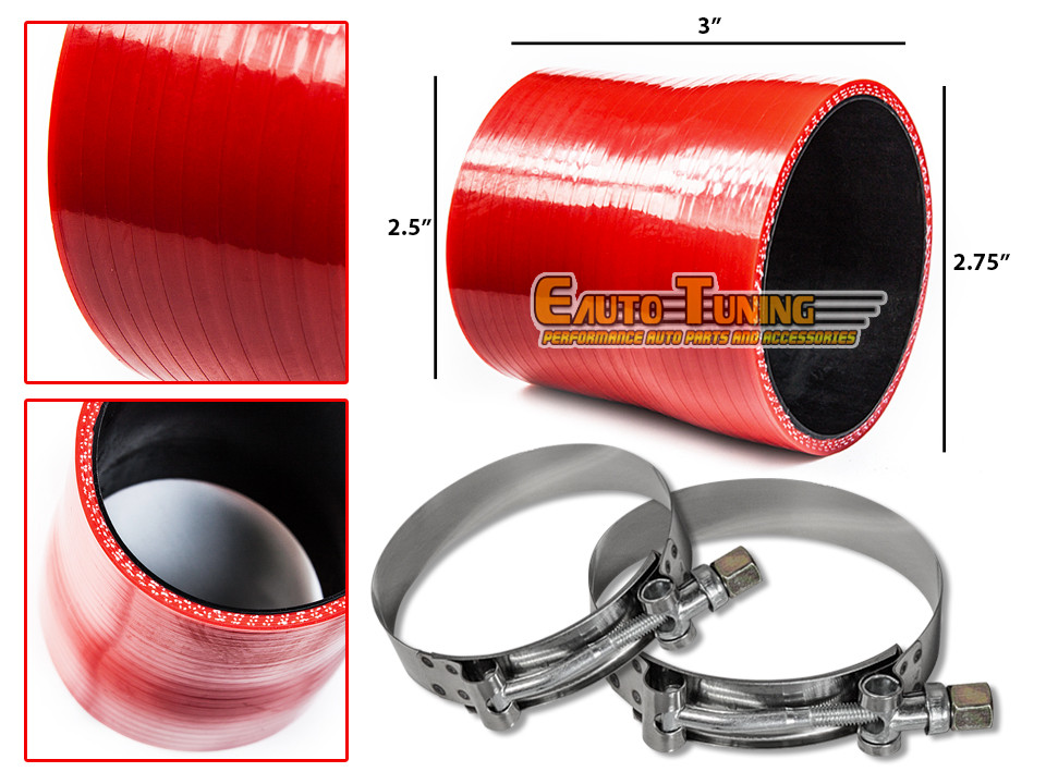 "2.75/"" To 2.5/"" Silicone Hose//Intercooler Pipe Coupler RED T-Bolt Clamp For BMW"
