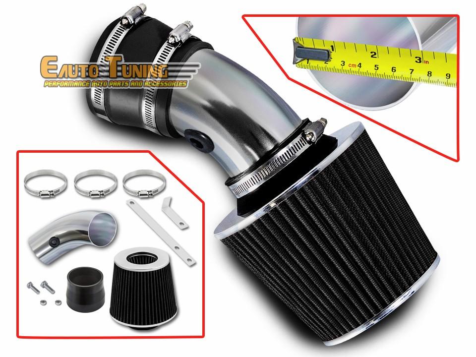 Short Ram Air Intake Kit BLACK Filter for 04-09 Jeep Liberty 3.7L V6 Dual Twin
