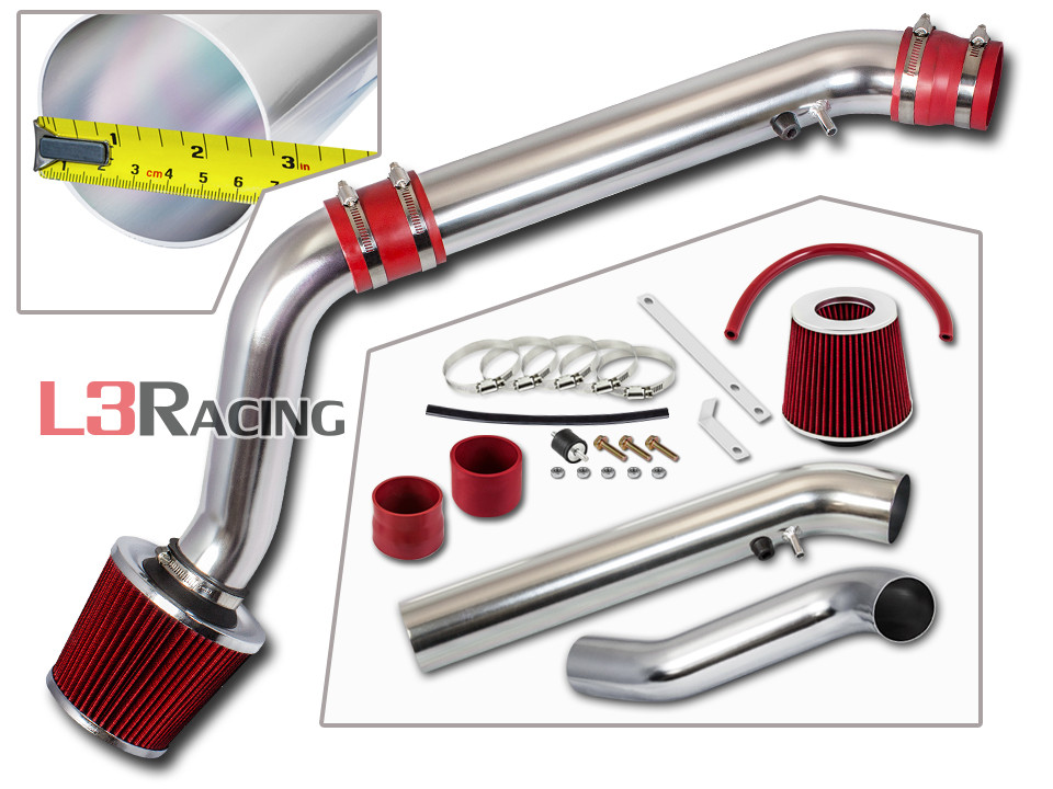 """2.75/"""" RED JDM Cold Air Intake System Filter For 96-98 Civic HX//EX//Si 1.6L L4"""
