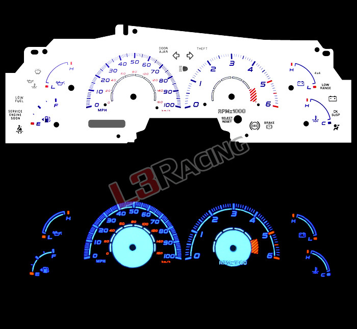 White Face Reverse Indiglo Glow Gauge 85MPH Kit For 91-94 Ford Ranger w//Tach