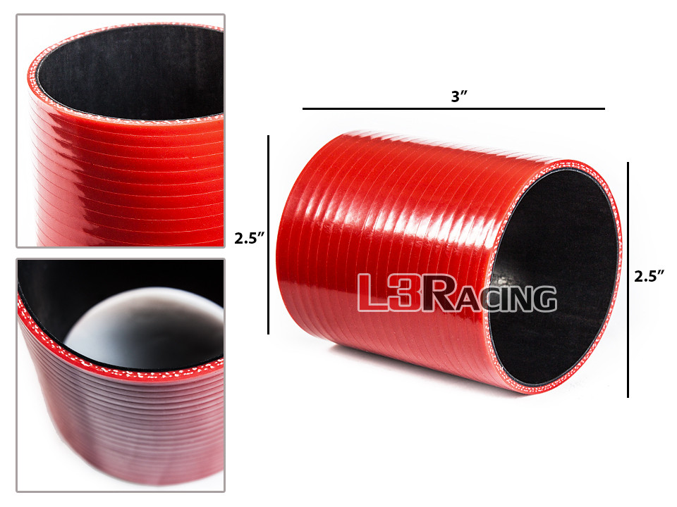 "RED 2.75/""-2.5/"" 70-63mm 3-ply Silicone Reducer Hose Turbo Intake Intercooler Chv1"