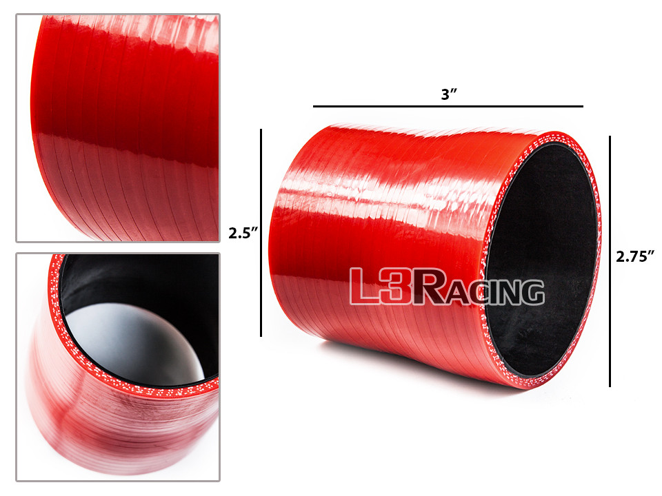"""RED 2.75/""""-2.5/"""" 70-63mm 3-ply Silicone Reducer Hose Turbo Intake Intercooler Inf"""