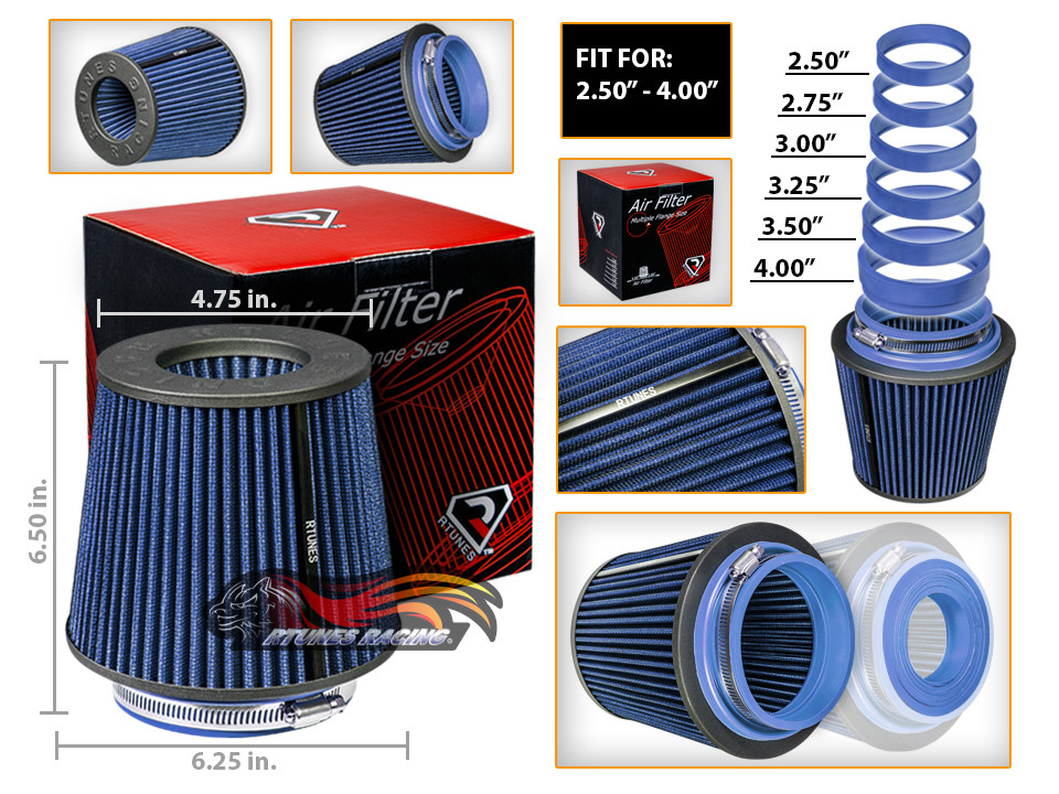 """BLUE 3.5/"""" Cold Air Intake Cone Dry Universal TRUCK FILTER For Mercedes Benz"""