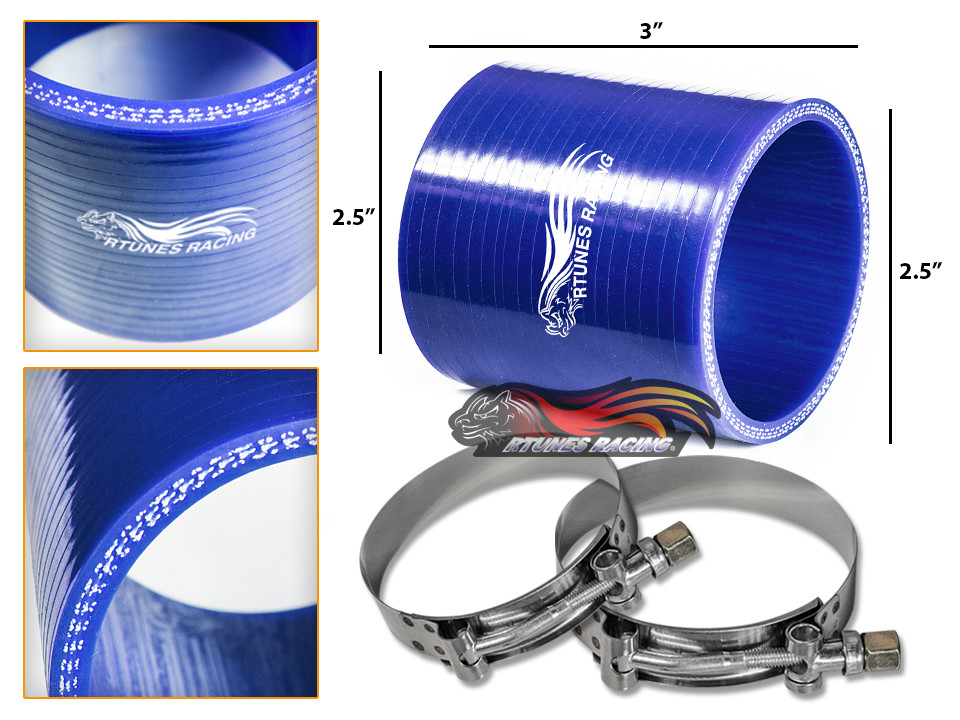 """T-Bolt Clamp For BMW 2.5/"""" Silicone Hose//Intercooler Pipe Straight Coupler BLACK"""