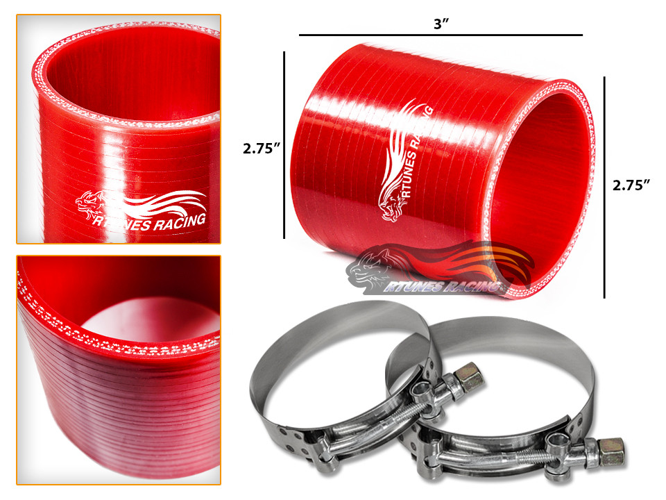 "RED 2.5/"" 63mm 3-ply Silicone Hose Turbo Intake Intercooler For Subaru Scion"