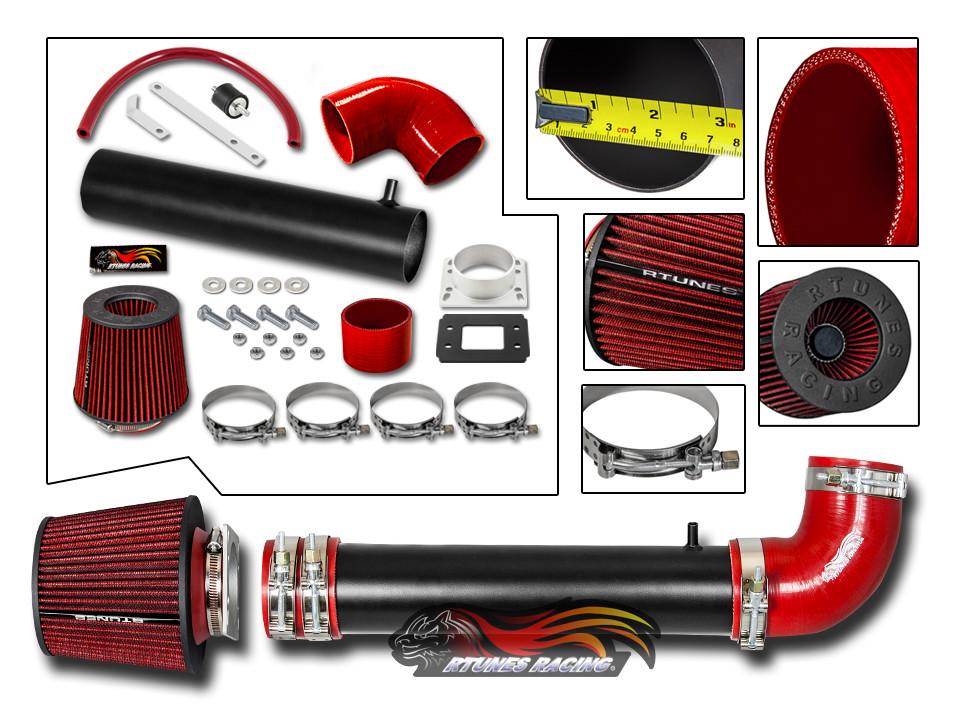 Filter Combo RED Compatible For 03-07 Hyundai Tiburon V6 2.7 Rtunes Racing Cold Air Intake Kit