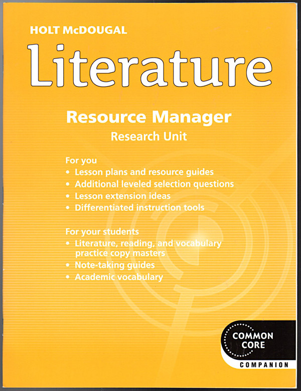 Image 0 of Holt McDougal Literature Resource Manager Grade 7 Research unit
