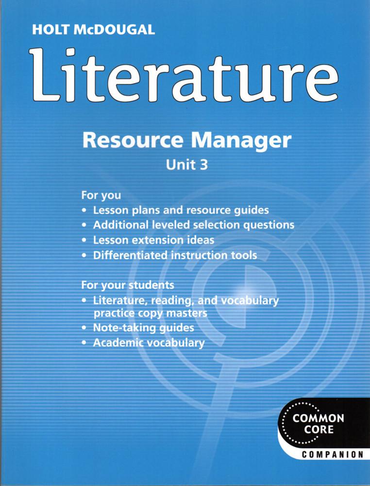 Holt McDougal Literature Grade 6 Common Core Resource Manager Unit 3