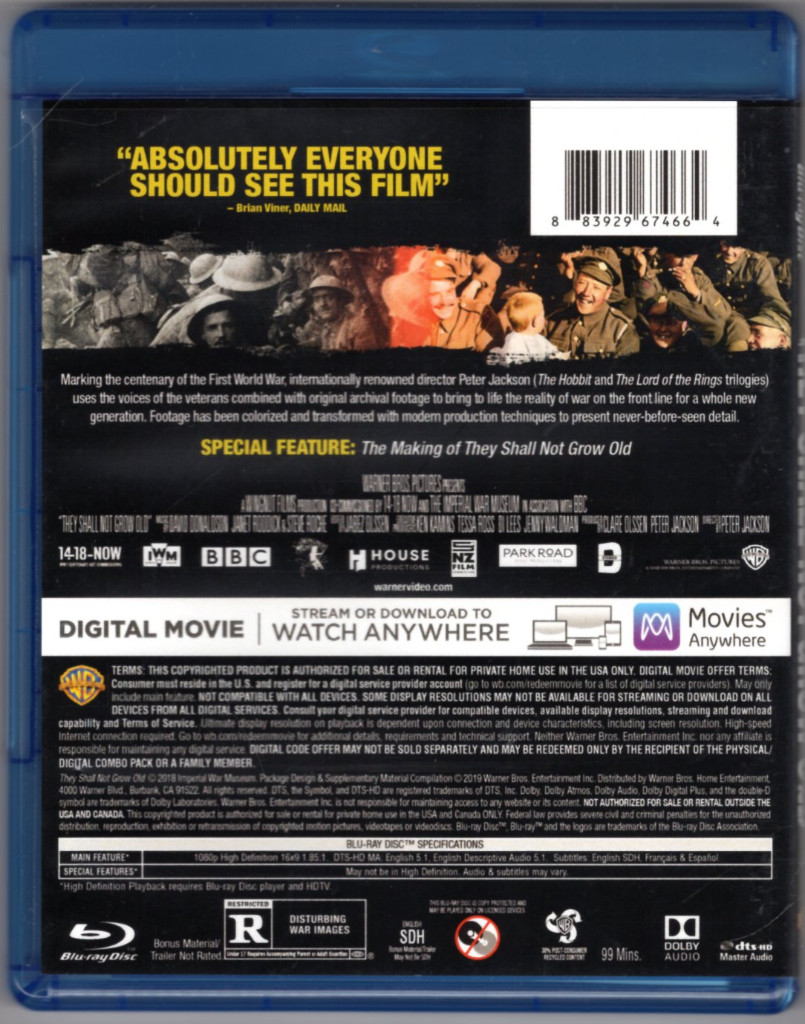Image 1 of They Shall Not Grow Old [Blu-ray disc ONLY]