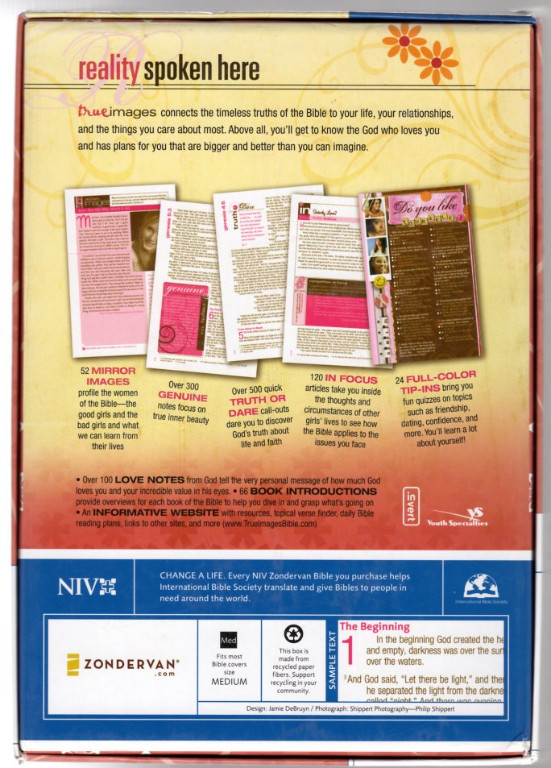 Image 1 of NIV True Images: The Bible for Teen Girls, Bubble Gum/Chocolate Duo Tone (1984 T