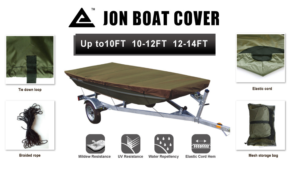 Leader Accessories Camouflage Jon Boat Cover Fits to 10ft Beam Width to 48/'/'