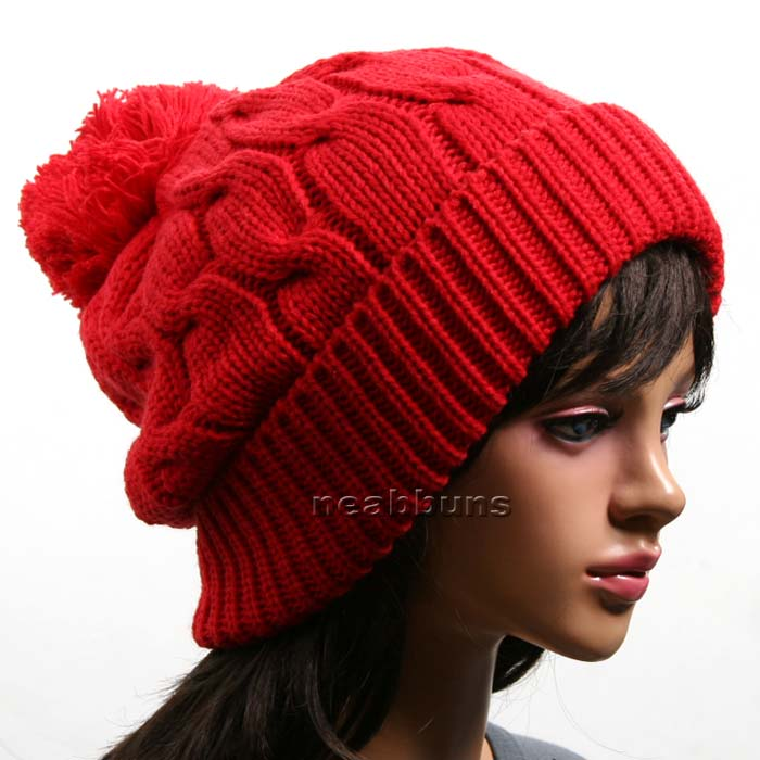 NEW uniSex pom BEANIE Knit winter Hat Cap Ski LSK RED  9c45264bc
