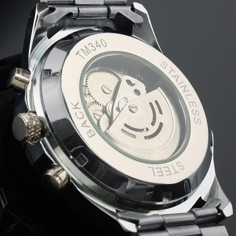 bcaef3c884b New Winner Men s Skeleton Stainless Steel Automatic Mechanical Sport Wrist  Watch
