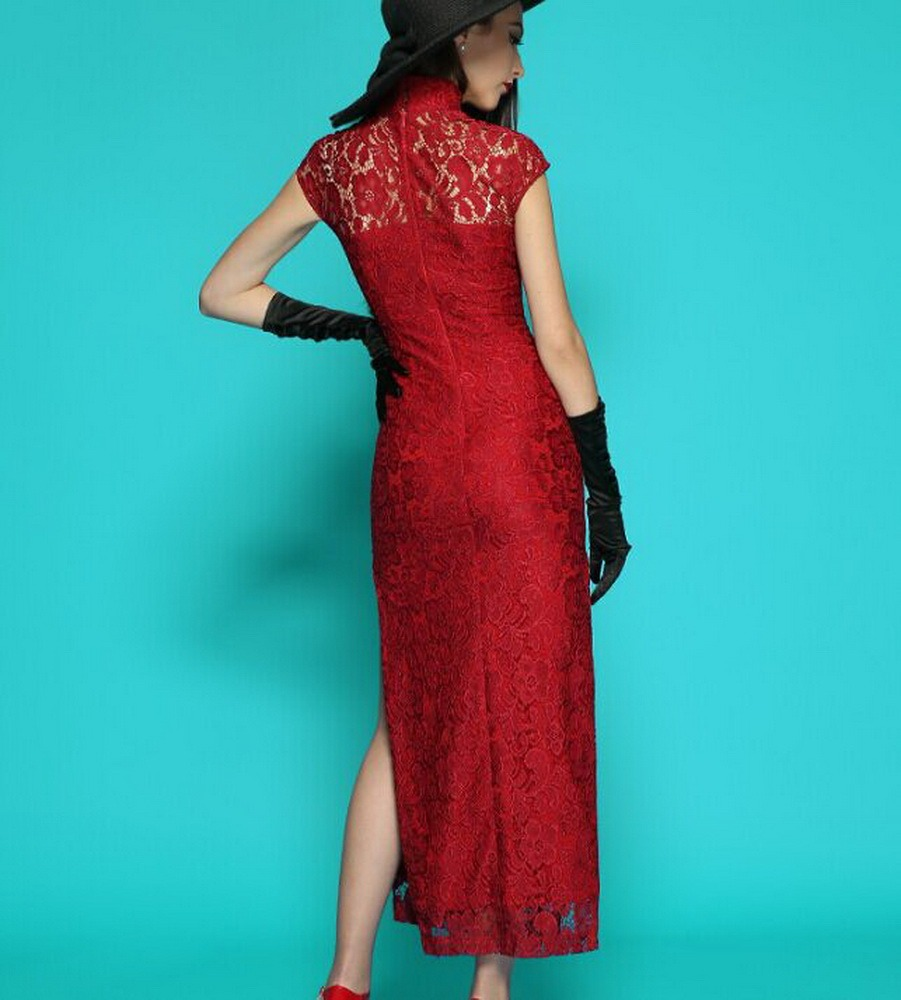 b4ccabcd1f8 split side gown cheongsam wedding maxi Lace dress plus size 1x-10x ...