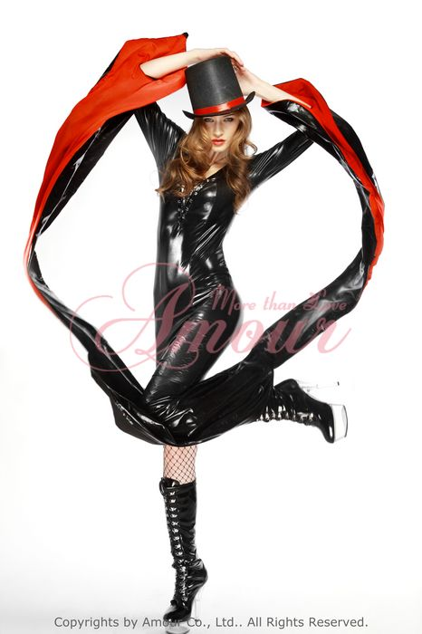Vinyl black Gothic Vampire Costume Long Dress Halloween Costume /w Hat