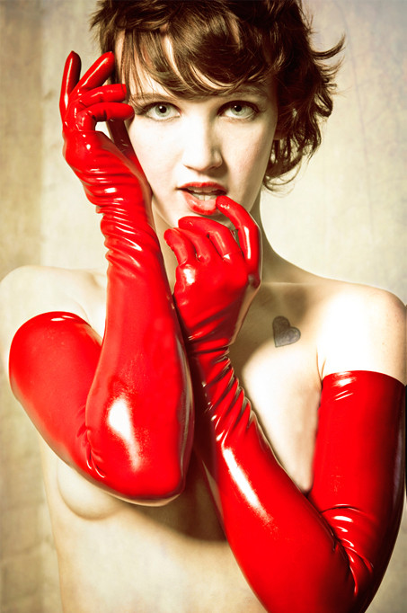 Red Black Gloves Womens Adult Wet Look Latex Fetish