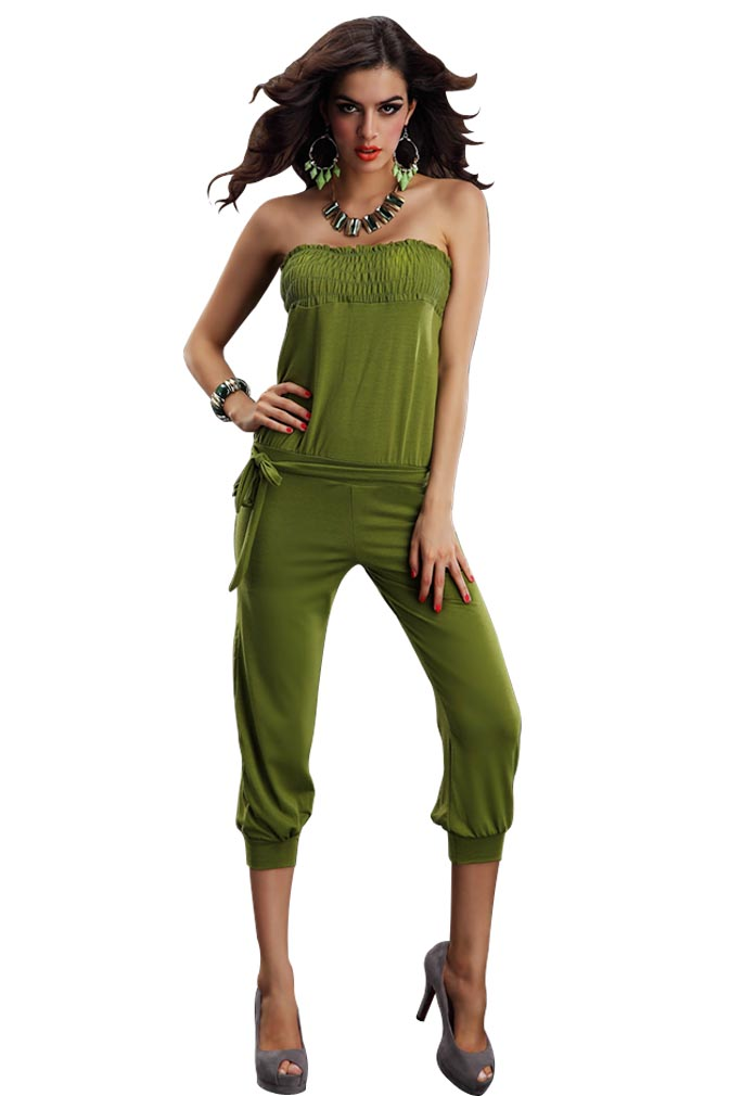 Orange/Army Green/Green Strapless Romper Pants Outdoor ...