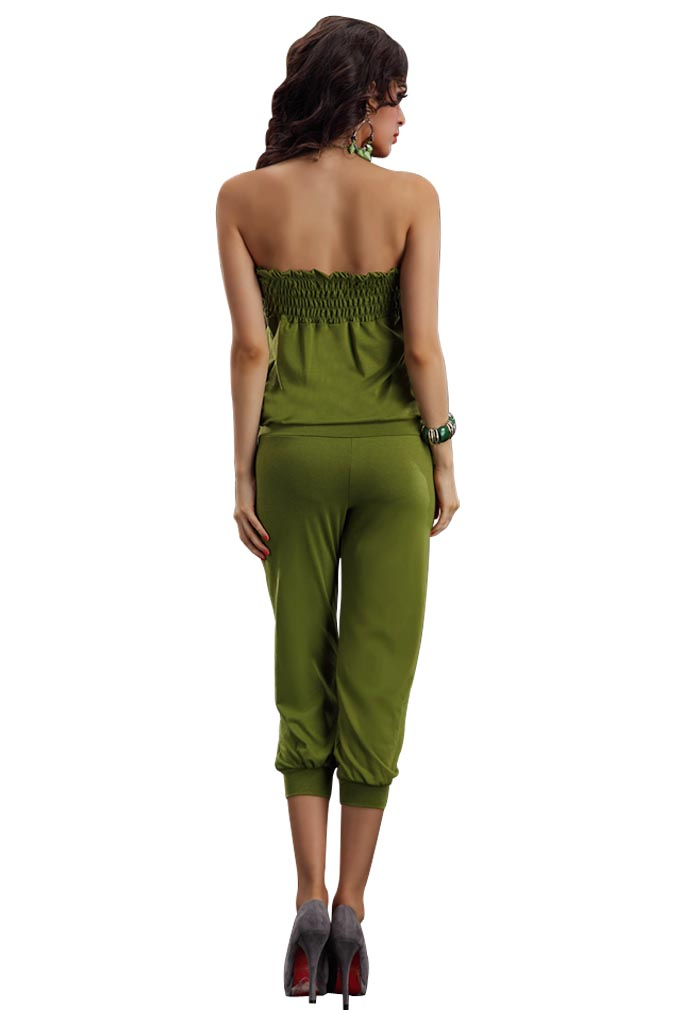 New Army Green Strapless Jumpsuit Bodysuit Romper Pants ...