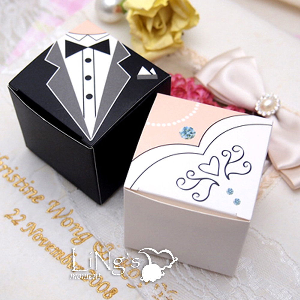 Gift Boxes For Weddings: Bride & Groom Tuxedo Dress Decoration Wedding Favor Gift