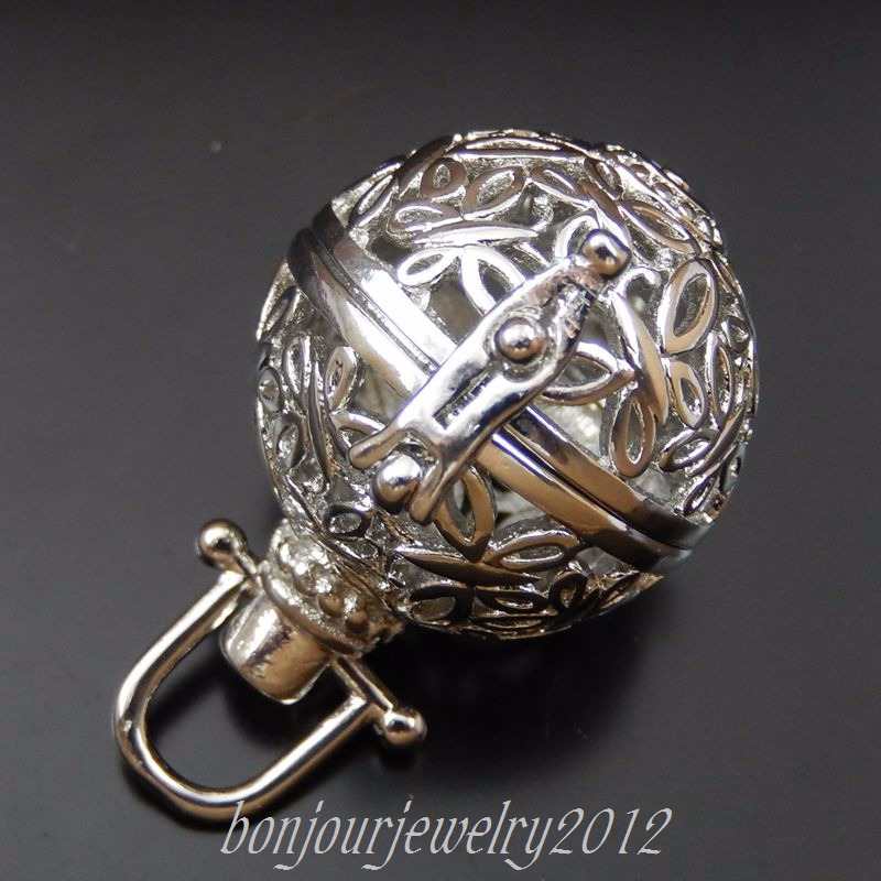 3pcs Retro Bronze Hollow Butterfly Ball Locket Brass Charms Pendants Findings