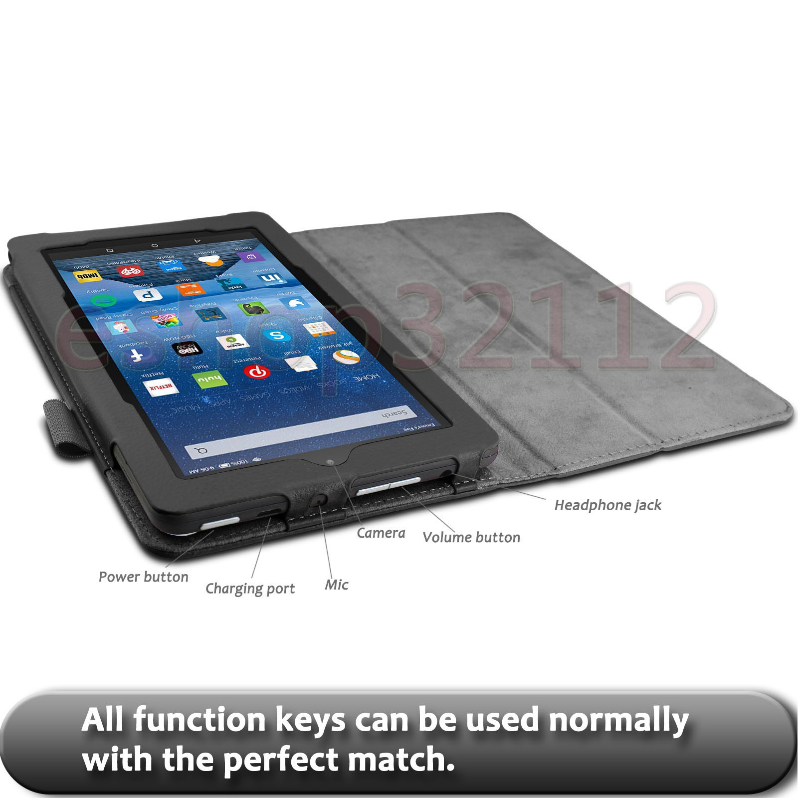Details about Folio Stand Case Cover For Amazon Kindle Fire 7 5th Gen Tablet