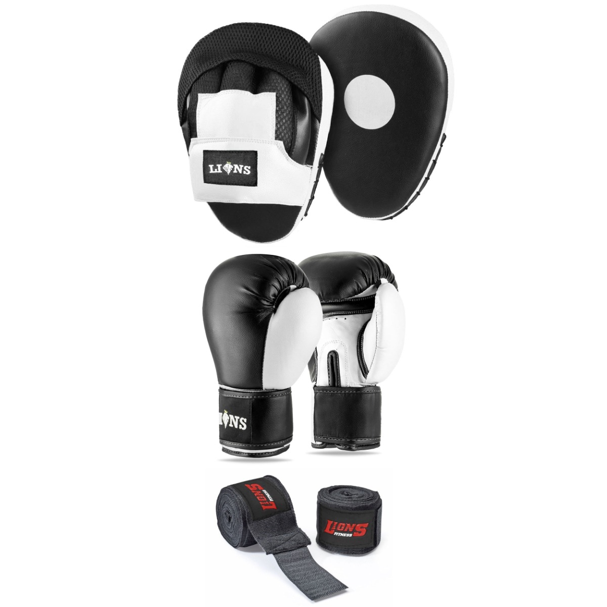 Lions Classic Adult Unisex Boxing Gloves and Curved Hook and Jab Focus Pads Set