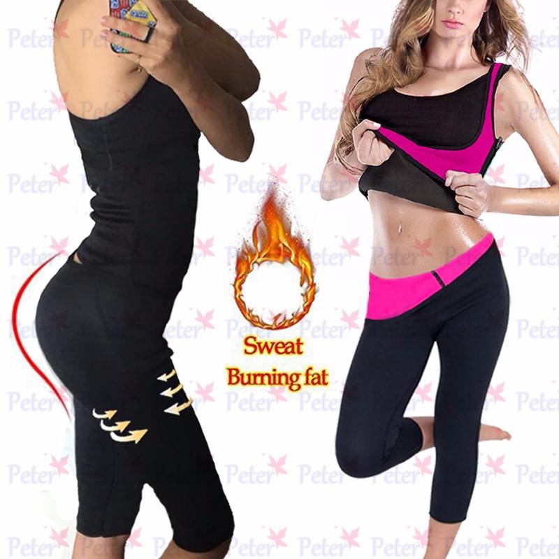 Womens Neoprene Sweat Sauna Burning Body Shaper Slimming Weight Loss Yoga Pants