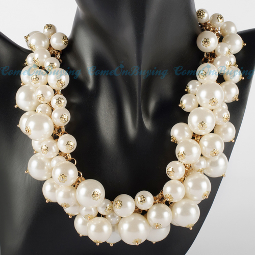 Fashion Gold Chain White Black Pearl Beads Choker Chunky