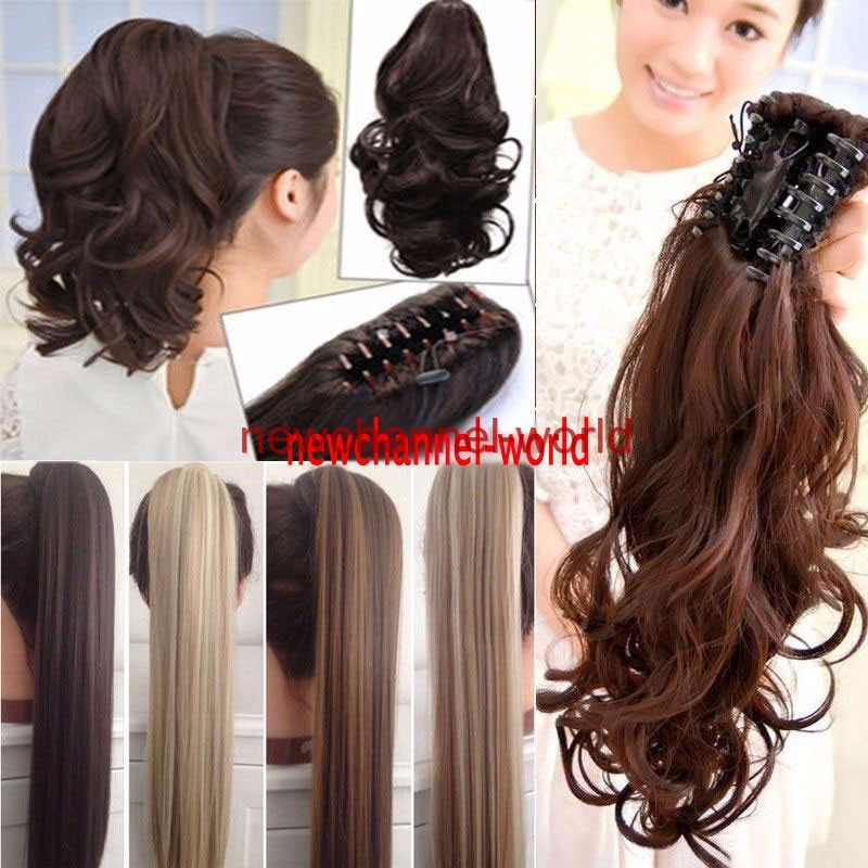 Real Thick Clip In As Human Hair Extensions Pony Tail Wrap Ponytail