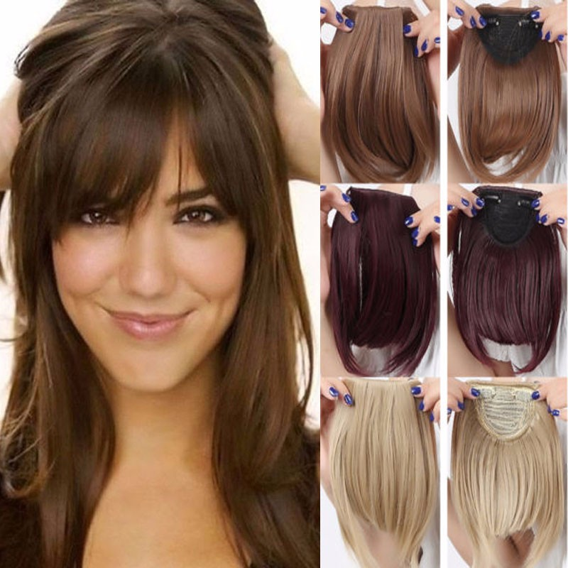 Straight Front Bangs Fringe Piece Clip In Hair Extensions Remy Style