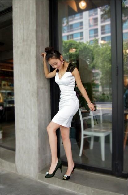 Korean Women V neck Sleeveless Bowkont Evening Party Mini Dress White