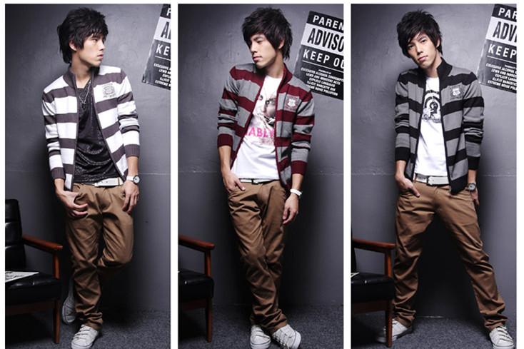 New Mens Stylish Slim Fit Stripe Sweater Coat 3 colours 3 sizes