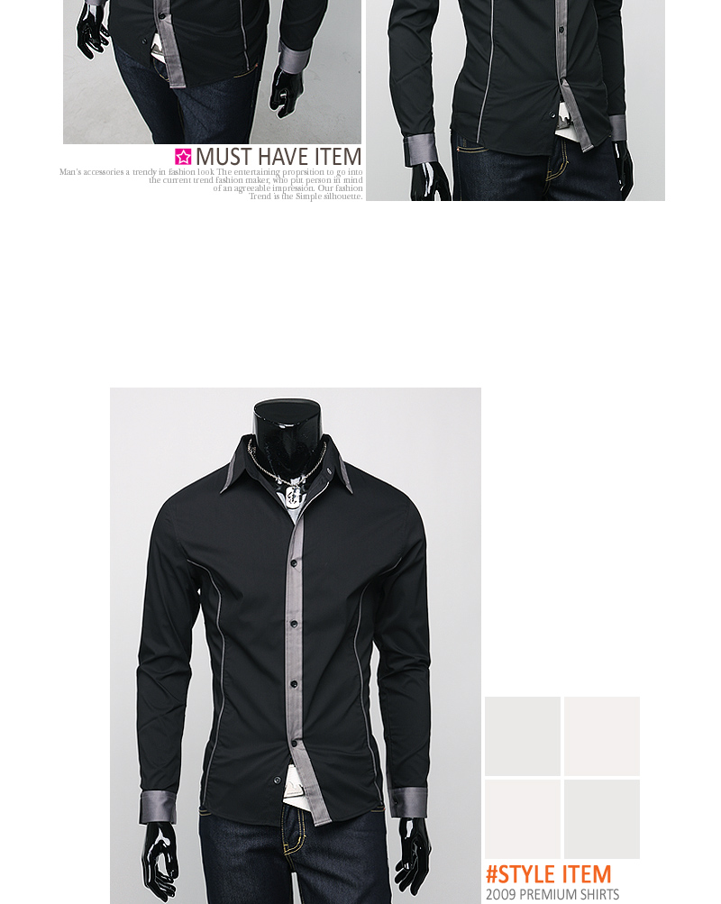 New Mens Luxury Slim Dress Shirts 3 Colors Sz M L XL