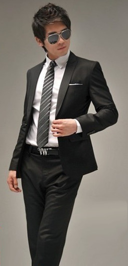 New Mens Fashion Stylish Slim Fit One Button Suit
