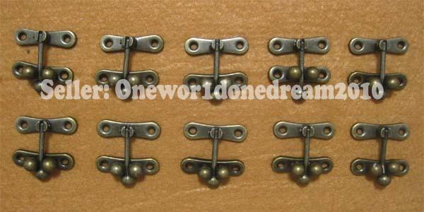 10x Vintage Bronze Decorative Box Hasp Latch Lock Swing Hook With Screws 37x41